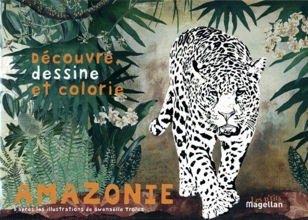 Amazonie, Découvre, Dessine Et Colorie - Couverture Livre - Collection Jeunesse > Albums, Les P'tits Magellan: à partir de 3 ans - Éditions Magellan & Cie