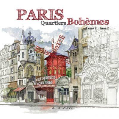 Paris, Quartiers Bohèmes - Couverture Livre - Collection Coups de crayon - Éditions Magellan & Cie